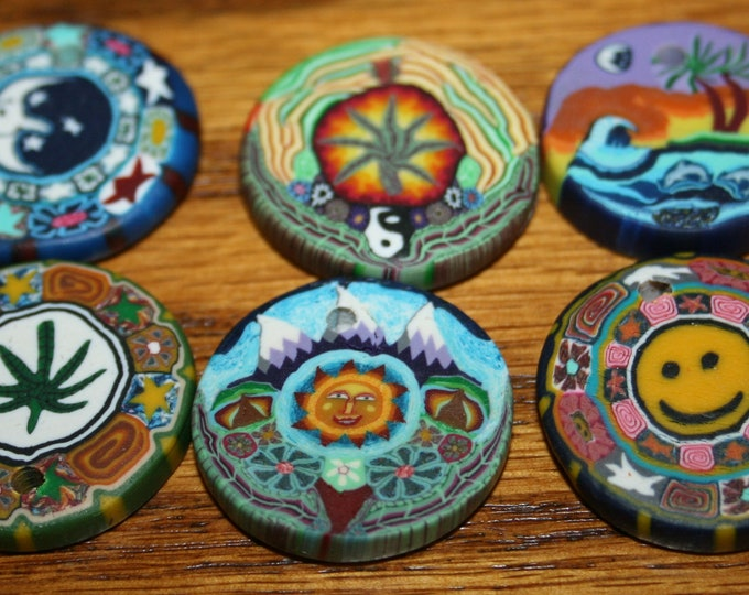 Polymer Clay Pendants - Lot of 6 - Happy Face, Moon, Rainbow, Hemp, Sun and Mountains, Dolphin Waves