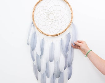 Dream Catcher Gray and White Feather Dreamcatcher - Color Choice - Boho Girls Boys DreamCatcher Wall Hanging Baby Tribal Crib Baby Feathers