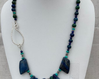 Sea Sediment and Zebra Jasper and an Blue Agate Heart Pendant Necklace set Blue Lapis asymmetrical beaded necklace with Sterling Silver