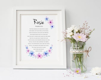 Personalised Thank You Print - End of Term Gift - Teacher Print - Daycare Print - Childminder Gift - Babysitter Gift (UNFRAMED PRINT)