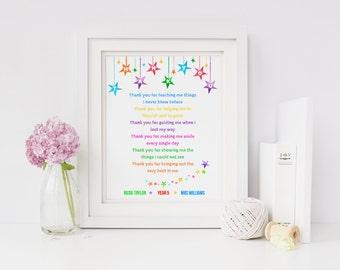Teacher Print - Thank You Teacher Gift - End of Year Teacher Gift -  Personalised Teacher Print - End of Term Teacher Gift (UNFRAMED PRINT)