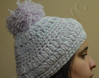 Crochet Pom-Pom Hat, in Lilac, Mint and White