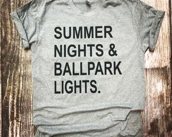 0b358407c6b Summer Nights and Ballpark Lights    Baseball T-Shirt
