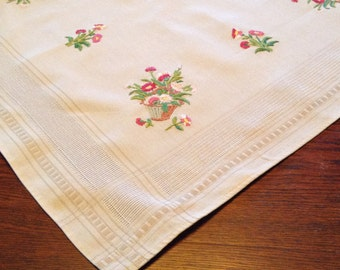 Vintage Embroidered Tablecloth - Pinks and Greens