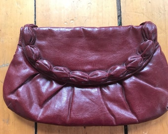 Vintage Scalloped Leather Oxblood Clutch