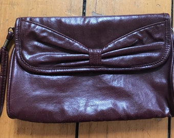 Vintage Leather Oxblood Clutch with Bow and Wrist Strap