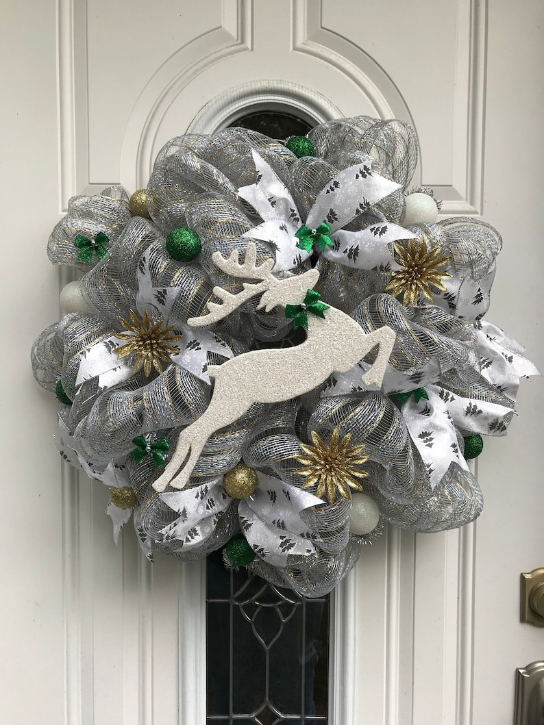 Christmas Front Door Wreath Deco Mesh Wreath Clearance Christmas Sale Wall Decor Holiday Shiny Wreath Super Sale Iridescent