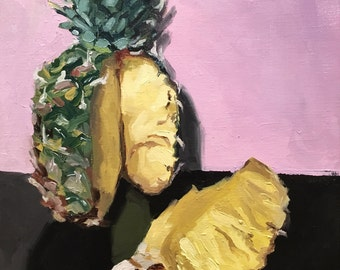 "Contemporary fine art oil painting of pineapple, expressive still life painting, wall decor: ""Pineapple"" 14""x11"""