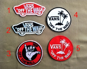 3259d54a7a5f VANS Off The WAll Skateboard High Quality Iron On Patches White And Red