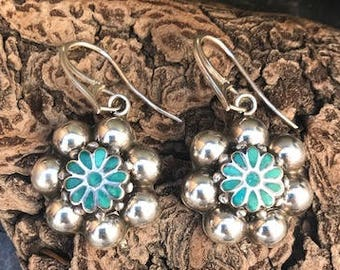 480835733 Vintage Sterling Silver and Dishta Style Turquoise Earrings ON SALE!
