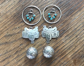 Vintage Southwestern Sterling Silver Hoop Earrings with 3 interchangeable Charms Saddle, Navajo Pawn Bead and Turquoise Heart