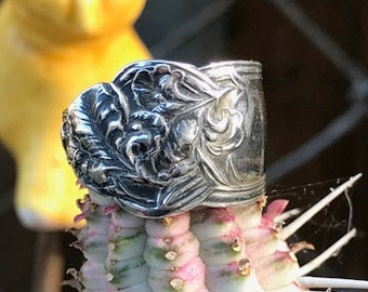 Vintage Sterling Silver Spoon Ring Approximately 6 1/2