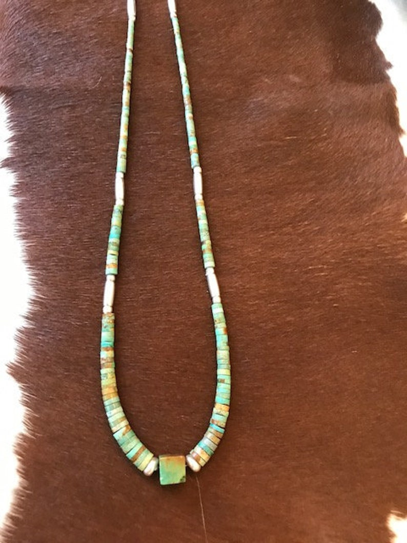 Sterling Silver Turquoise Contemporary Heishi Necklace