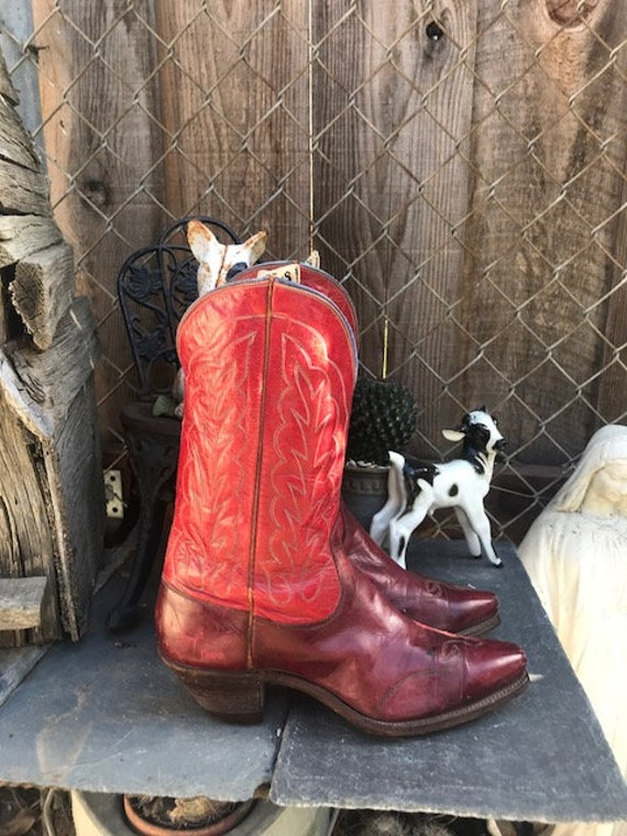 Antique Red Justin Cowboy Boots