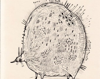 Fat Bug original pen and ink illustration fantasy drawing imaginary creature insect nature whimsical artwork