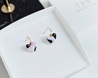 Heart Shaped earrings, Gold Wire Dangle Earrings, Polymer Clay Earrings, Three Tone pink, black & white, Cute heart earrings