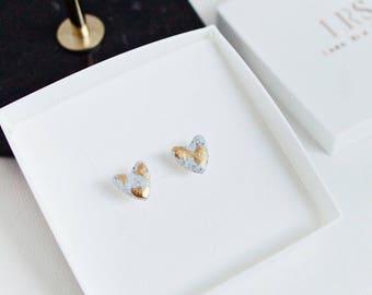 Granite and Gold Leaf Stud Earrings, Handmade Heart Studs, Polymer Clay, Grey Granite, Gold Leaf Jewellery, Minimal Earrings, Gift for her