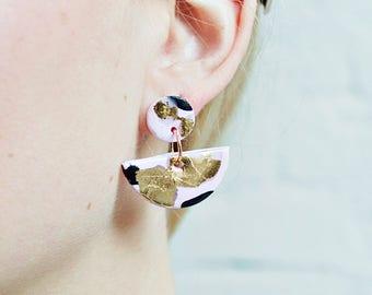 Half circle Shaped earrings, Gold Stud Dangle Earrings, Polymer Clay Earrings, Three Tone pink, gold & black, Cute circle earrings