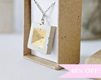 ON SALE - Concrete Jewelry: Concrete Geometric Necklace (invert pyramid square)/Cement Jewelry/ Modern/gold leaf / Minimalist Jewelry/