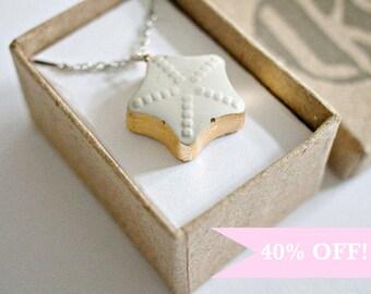 ON SALE - Concrete Jewelry: Concrete Star Necklace /Cement Jewelry/ Modern /Gold Leaf/ Minimalist Jewelry/