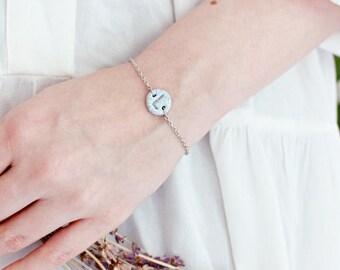 Initial Bracelet, Handmade Letter Circle Bracelet, Polymer Clay, Grey Granite, Personalized Silver Jewellery, Monogram Bracelet