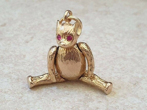Articulated Teddy Bear Pendant in 9ct Gold