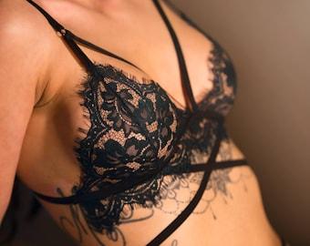 Provocateur Bralette set -  lace bralette with black harness - Lace lingerie set- Girlfriend Gift