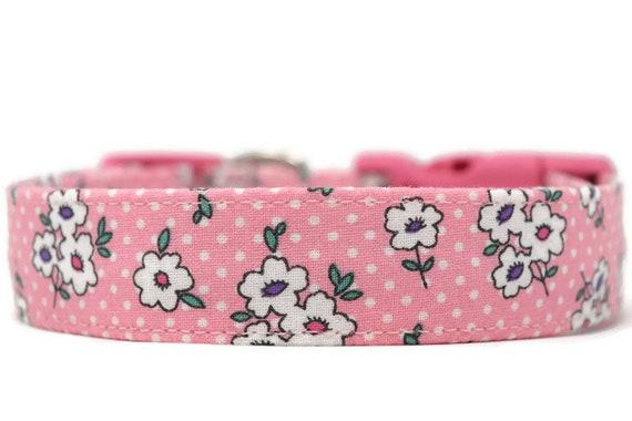 Pink Flower Dog Collar Pretty Dog Collar Girly Dog Collar Etsy