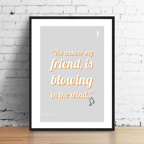 Bob Dylan Inspired Blowing In The Wind Lyrics Print. Home | Etsy