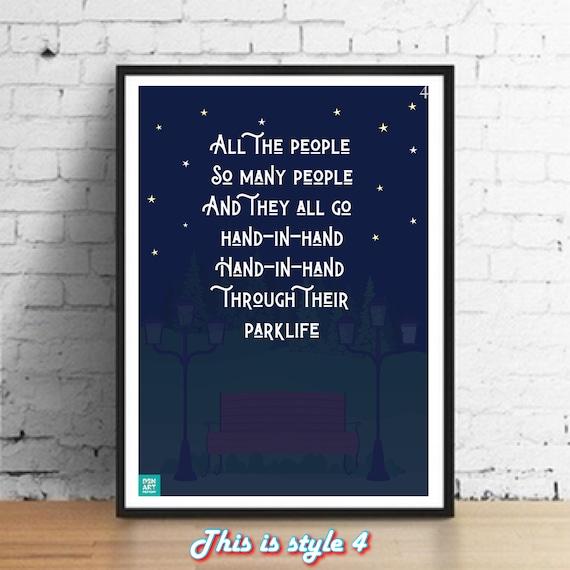 Lyrics Gift Signed Art Parklife Blur Poster Poster Print