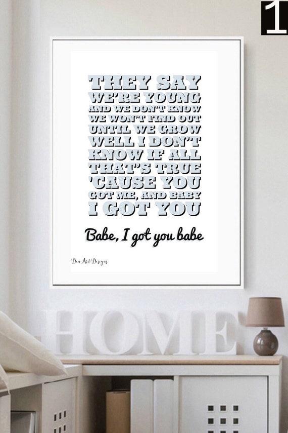 Sonny & Cher I Got You Babe Lyrics Print. Home Decor.   Etsy