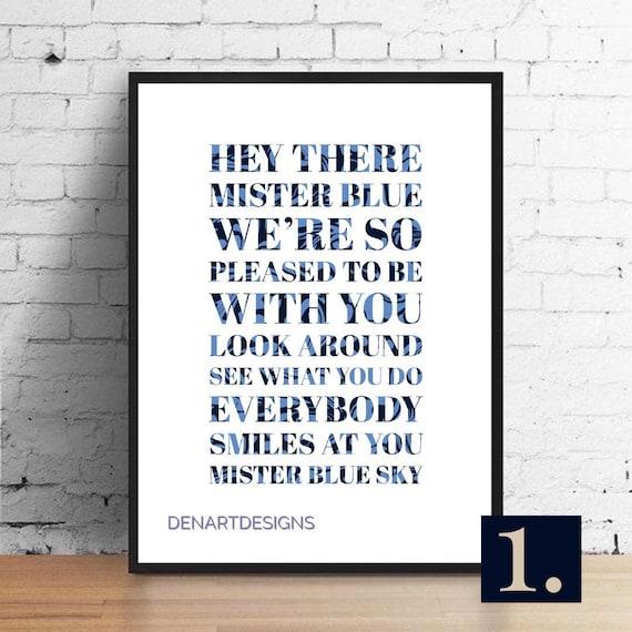 ELO Inspired Mr Blue Sky Lyrics Print. Home Decor. | Etsy