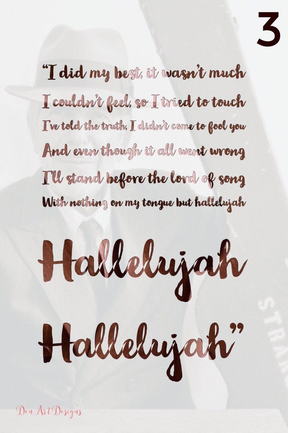 Leonard Cohen/Jeff Buckley Inspired Hallelujah Lyrics Print. | Etsy