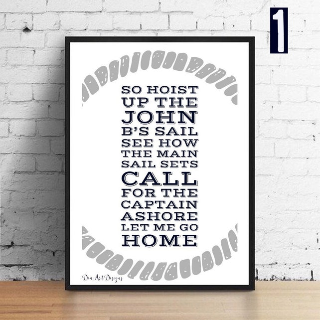 Beach Boys inspired Sloop John B Lyrics Gift Print Poster | Etsy