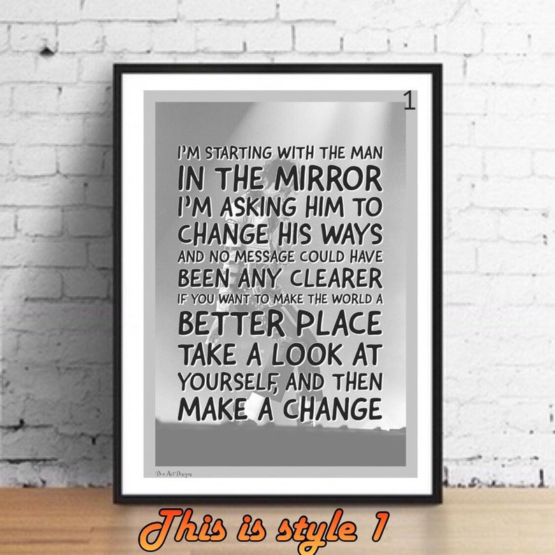 CANVAS PRINT PICTURE READY TO HANG MICHAEL JACKSON SONG QUOTES MAN IN THE MIRROR
