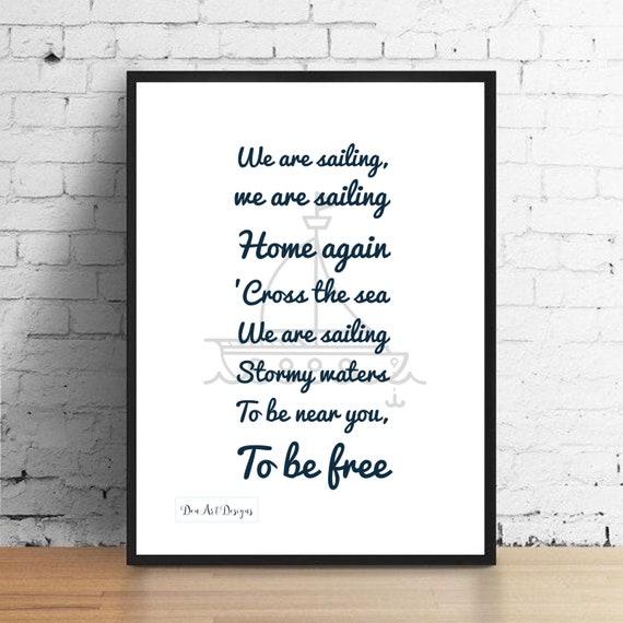 Rod Stewart Inspired Sailing Music Lyrics Print Home Decor   Etsy