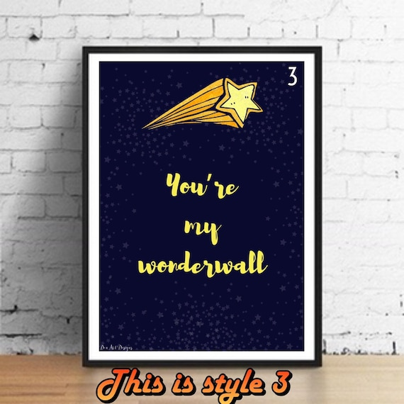 Oasis Whats the Story Morning Glory Love Song Lyric Art Print Wedding Gift