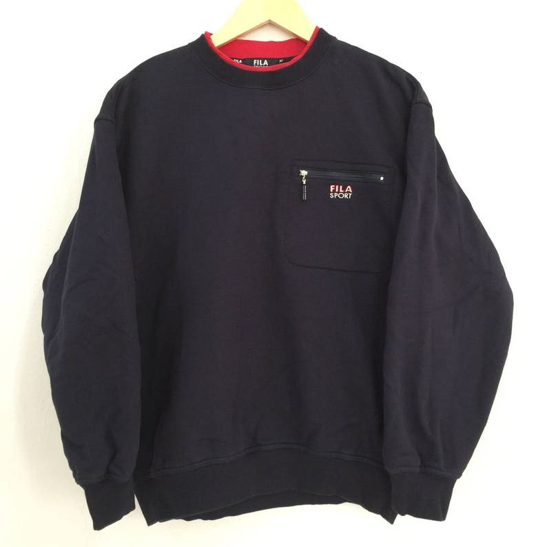 6284276a16f5 Rare FILA SPORT Sweatshirt Blue Black Pullover SMALL logo in | Etsy