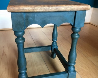 Vintage End Table/Wine Table ~ Aubusson Blue ~ Upcycled ~ Shabby Chic