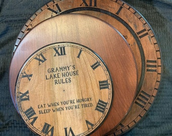 Custom Laser Engraved Wood Clock- Multiple Sizes