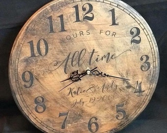 Custom Laser Engraved Solid wood clock