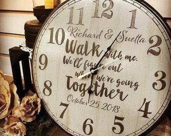 Custom Farmhouse White Laser Engraved Wood Clock- Multiple Sizes