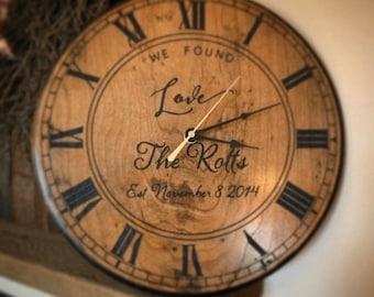 Custom Antique Cherry Laser Engraved Wood Clock- Multiple Sizes