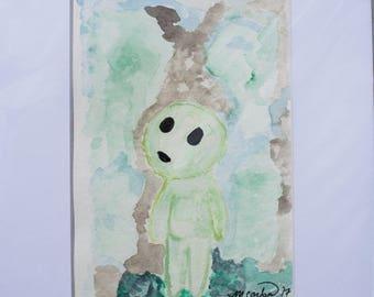 Princess Mononoke tree sprite watercolor - 5x7, matted