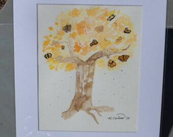 Tree in fall watercolor - Matted 11x14 matted painting