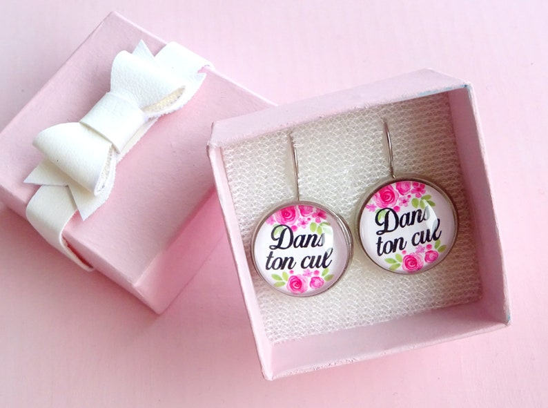Dans ton cul/ french curse/ funny rude earrings / pastel goth / mood /  insult mean sweary earrings/ vintage floral/ funny gift leverbacks