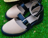 Thea - Women 39 s Genuine Leather Ankle Strap Color Block Closed Toe Sandals, Beige Flats, Summer Must Have Nude Shoes, Free Customization