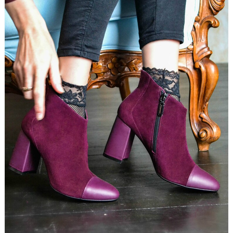 78101a0341c33 Lia - Women's Handmade Genuine Leather Suede High Heel Ankle Booties,  Purple Shoes, Casual Fall Shoes, Dress Boots, Free Customization