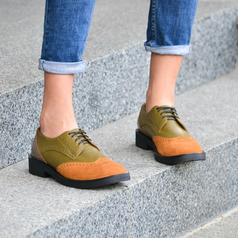 130ce4e2ea014 Charlie Green Yellow - Women's Genuine Leather Suede Patent Leather Color  Block Lace-Up Oxford Shoes, Fall Brogue Shoes, Free Customization
