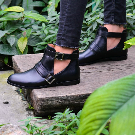SABA Light Women's Handmade Genuine Leather Open Ankle Boots, Fall Shoes, Chelsea Boots, Buckle Black Shoes, Flat Boot, Free Customization